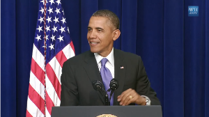President Obama speaking at the White House Summit