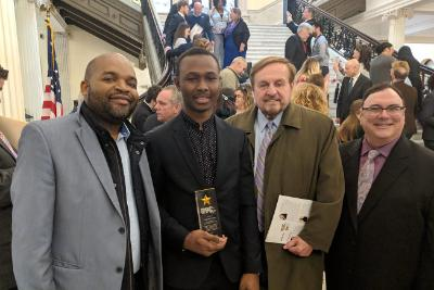 Tendai Nyakurimwa, Professor of Accounting, Mohamed Sidime, 29 Who Shine Award Recipient, James Canniff, Ed.D., Provost and Vice President of Bunker Hill Community College, Paul Moda, Director, Student Leadership and Engagement