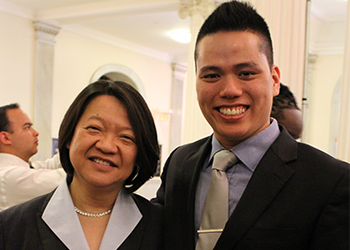 Quan Nguyen and President Eddinger at 29 Who Shine