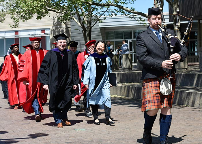 Speaker DeLeo and President Eddinger leading the faculty procession