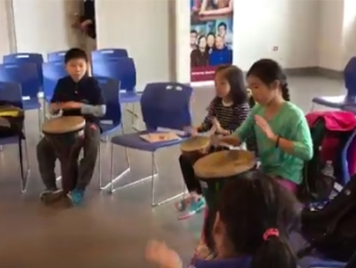 twitter photo children drumming