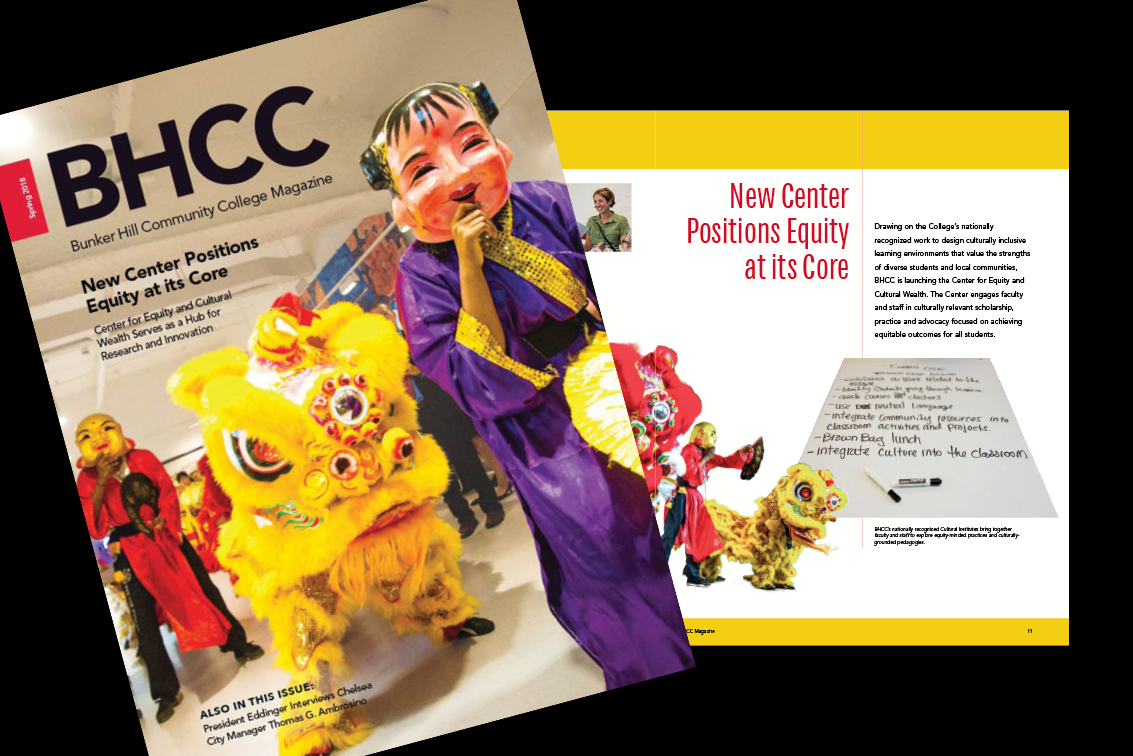 spread of the BHCC Magazine on a back background