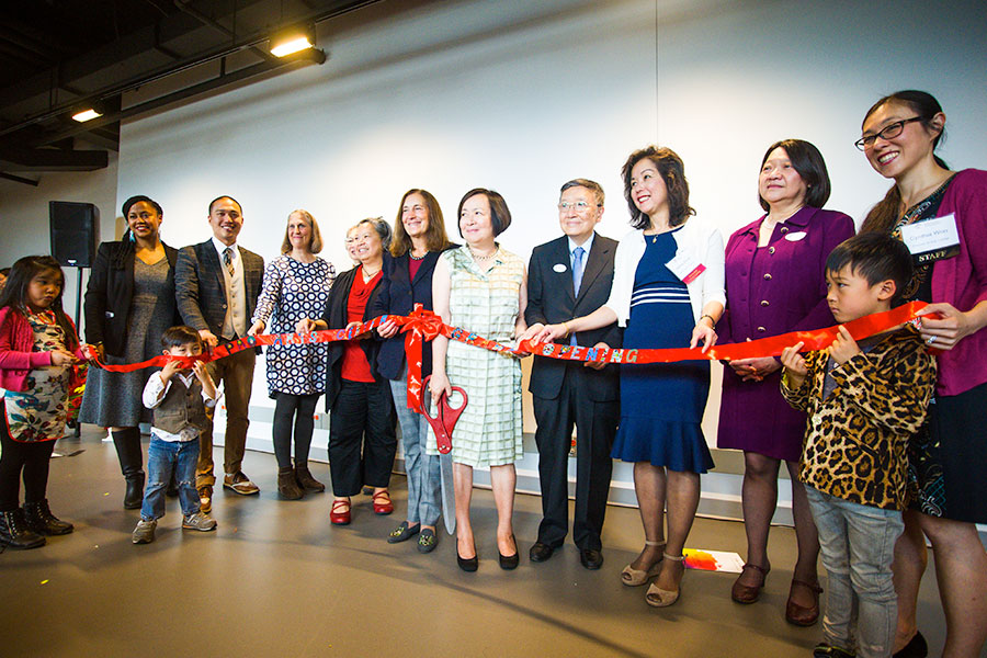 ribbon cutting ceremony at Pao Center