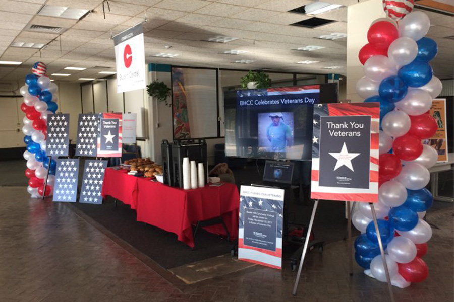 BHCC lobby decorated for veterans day