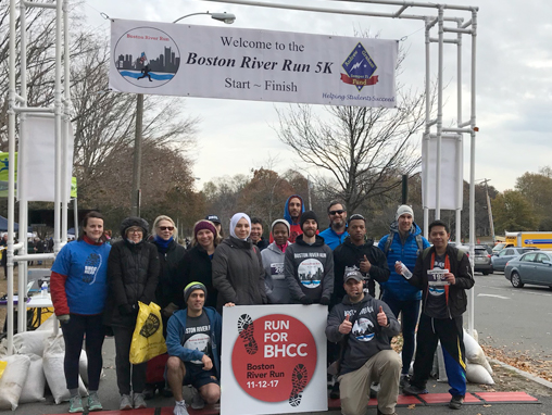 BHCC Veterans, faculty and staff posing at the River Run finish line