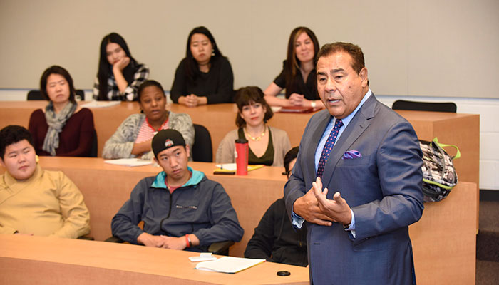 John Quinones speaking to a classroom of students on October 14, 2016