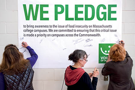 We pledge to bring awareness to the issue of food insecurity on Massachusetts college campuses.  We are committed to ensuring that this critical issue is made a priority on campuses across the Commonwealth.