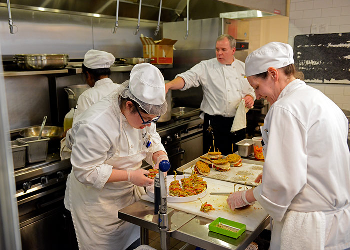 BHCC culinary students preparing food