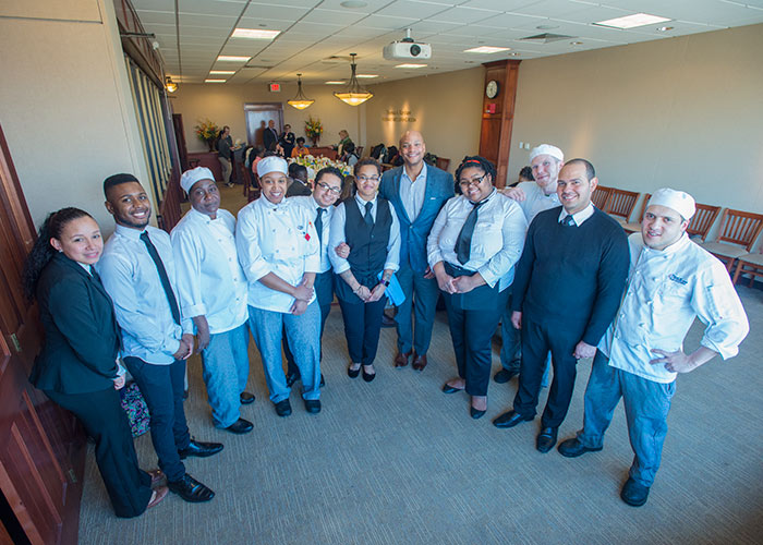 Wes Moore with BHCC Culinary students