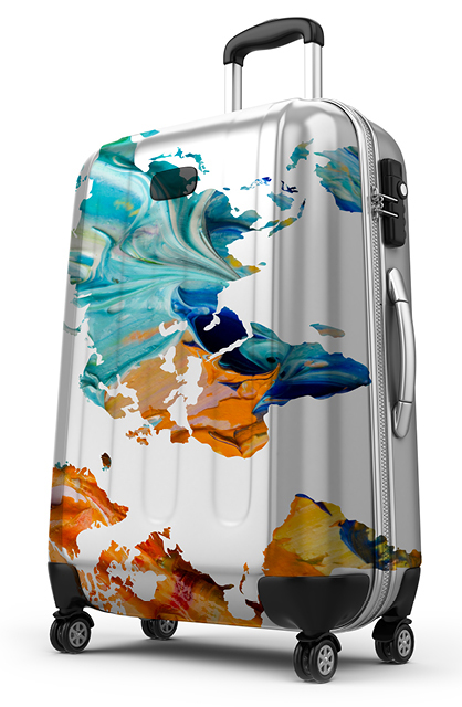 Abstract act design on a luggage