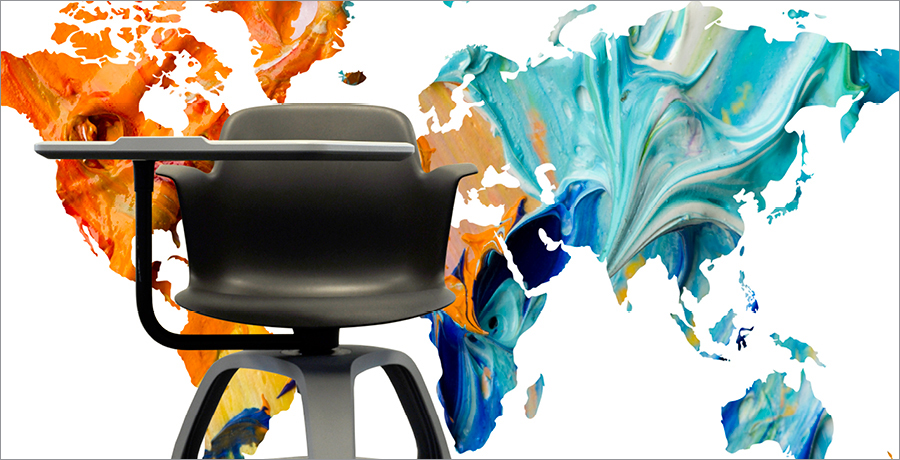 A chair with an abstract background splash