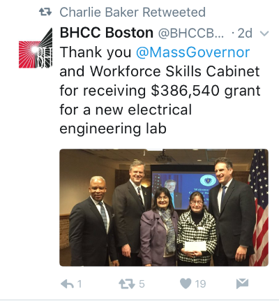 Tweet about workforce skills from BHCC