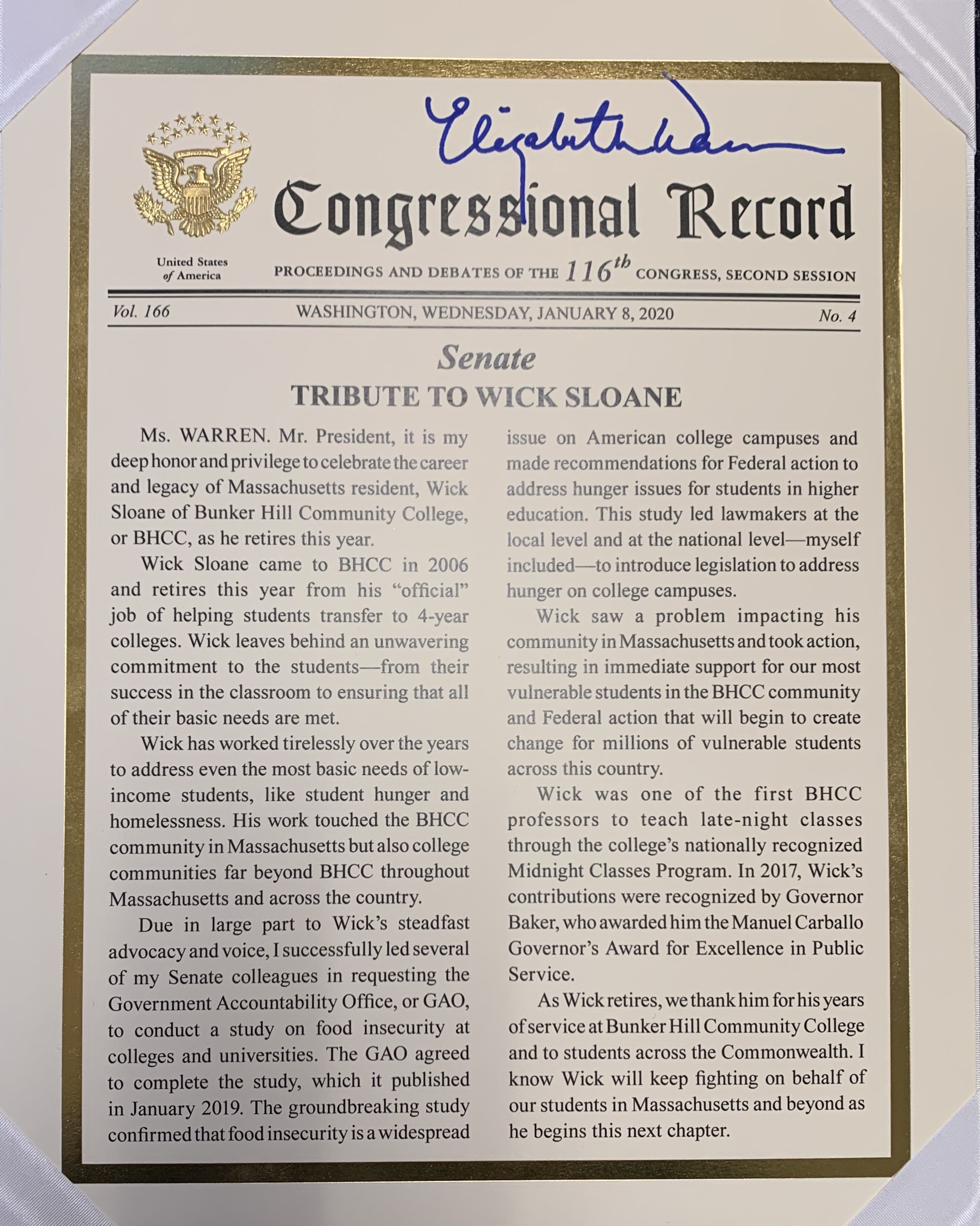 Congressional record From Senate Warren , a tribute to Wick Sloane