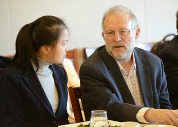 Jerry Greenfield of Ben & Jerry's speaks to Bunker Hill students