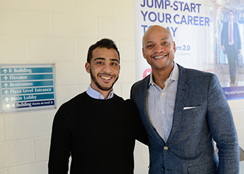 Wes Moore and student