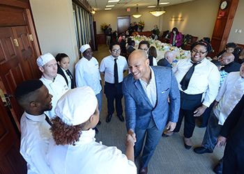 Wes Moore with culinary students