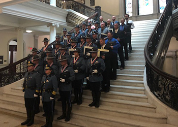 police officers lined up on the stairs