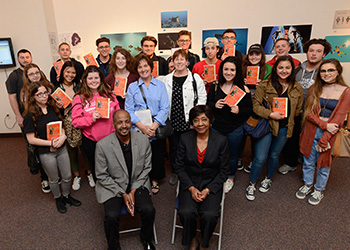Group of students posing with David and Shirley Lacks